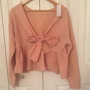 {ELLA MOSS} Pink Sabrina Ruffle Bow Top XL